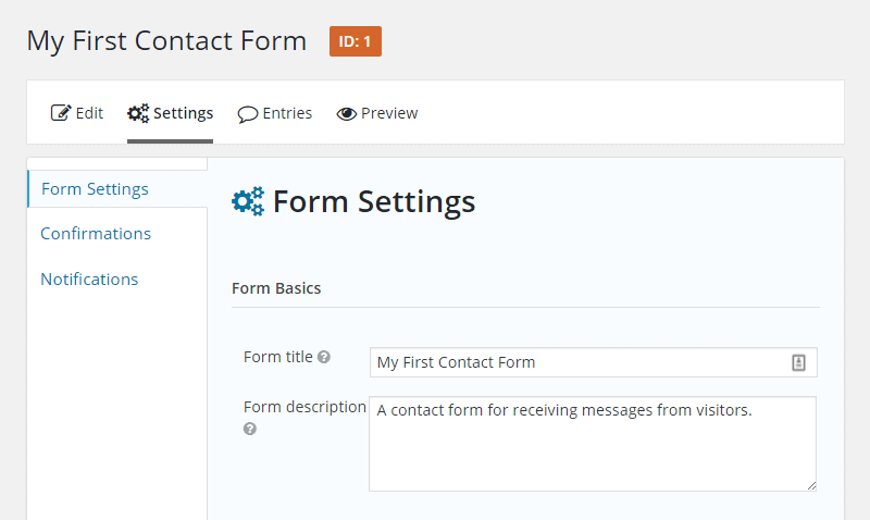 Form Settings