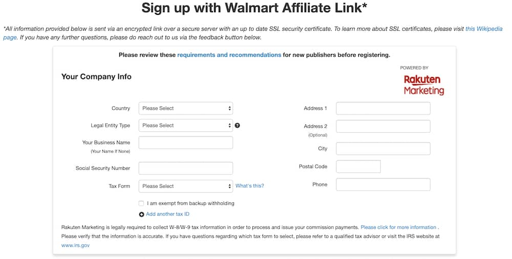 Walmart Affiliate Program Sign-Up