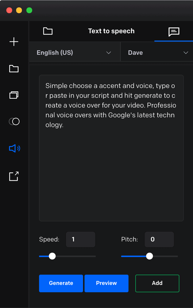 Vidello Create Text-to-Speech