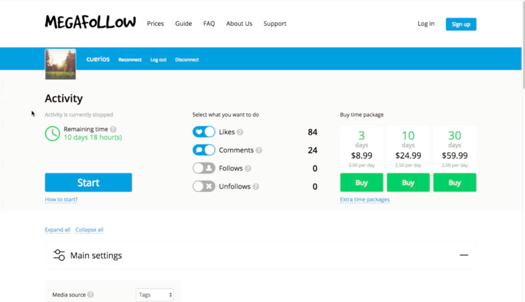 MegaFollow Dashboard
