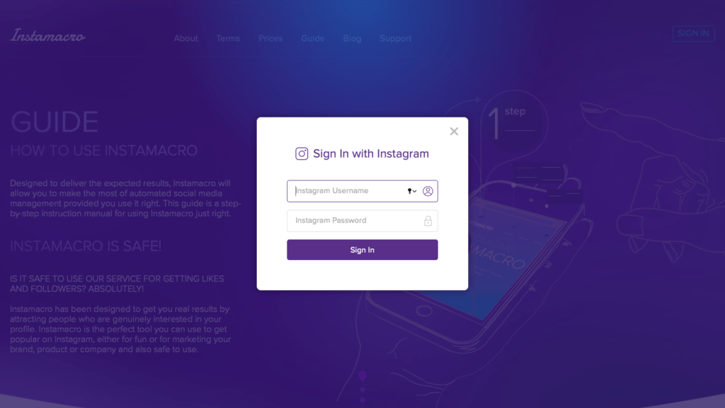 InstaMacro Sign-Up