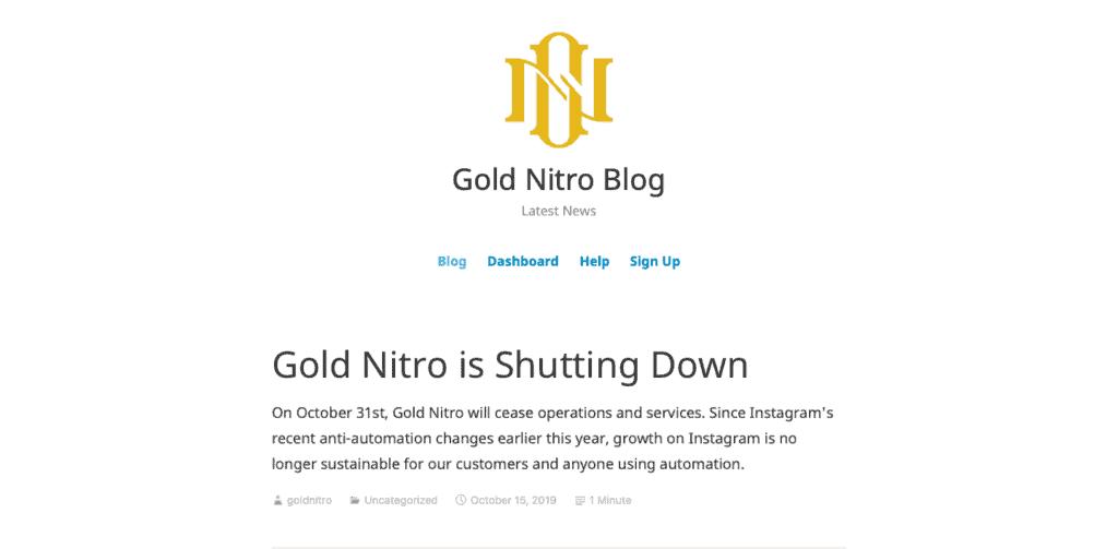Gold Nitro Shut Down