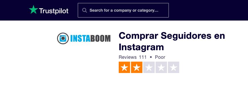 InstaBoom Trustpilot