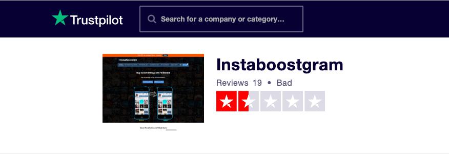 InstaBoostgram Trustpilot Rating
