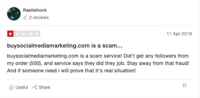 BuySocialMediaMarketing Trustpilot