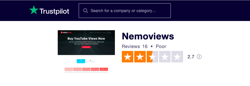 NemoViews Trustpilot Rating