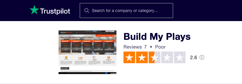 Build My Plays Trustpilot