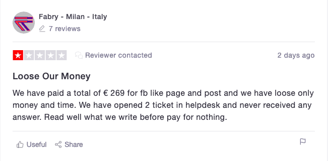 SocialWick Trustpilot Review