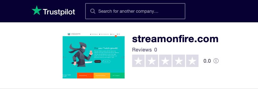 Streamonfire Trustpilot